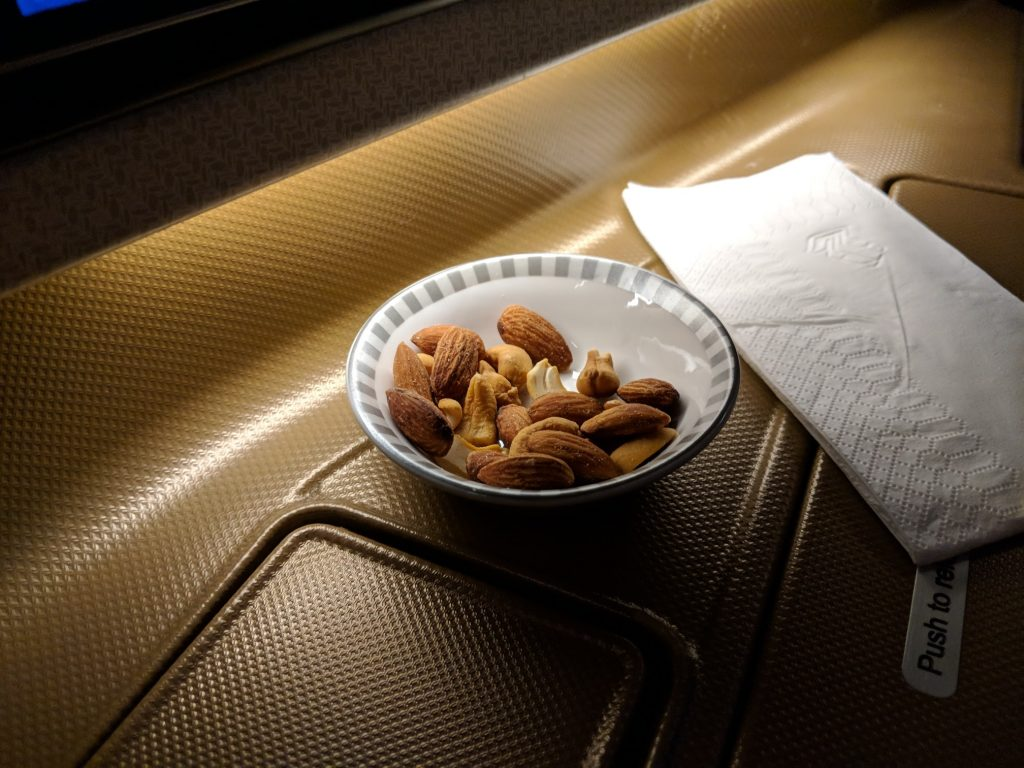 singapore airlines business class nuts
